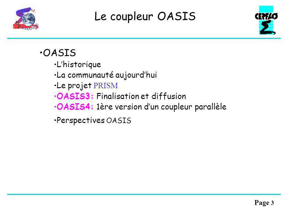 Page 3 Le coupleur OASIS OASIS Lhistorique La communauté aujourdhui Le projet PRISM OASIS3: Finalisation et diffusion OASIS4: 1ère version dun coupleur parallèle Perspectives OASIS