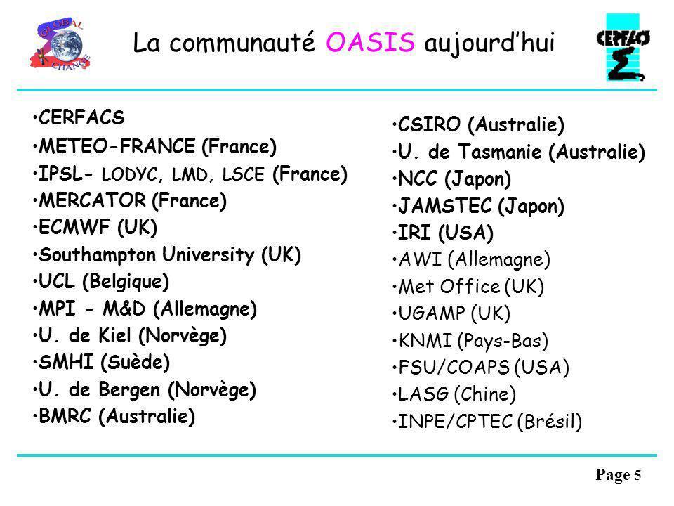 Page 4 Lhistorique dOASIS 1991: analyse des besoins 1993: OASIS 1.0 (Pipe CRAY et fichiers) 10 ans de couplé tropical 1995: OASIS 2.0 (PVM3) Projet Ca