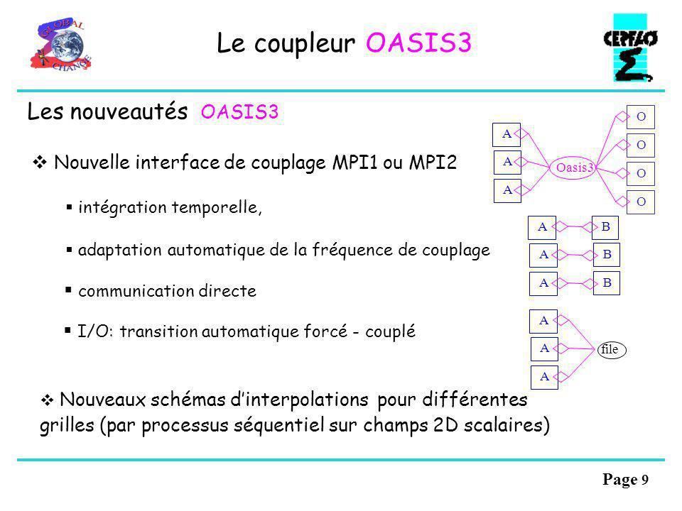 Page 8 Le coupleur OASIS3 1 coupleur monoprocesseur: - échange des champs de couplage - interpolation des champs échangés Flexibilité, modularité : > nombre arbitraire de modèles (parallèles) et de champs échangés > fréquences de couplage différentes pour les différents champs > transformations particulières pour chaque champ Couplage statique: tous ces paramètres sont fixés initialement par lutilisateur dans un fichier dentrée namcouple