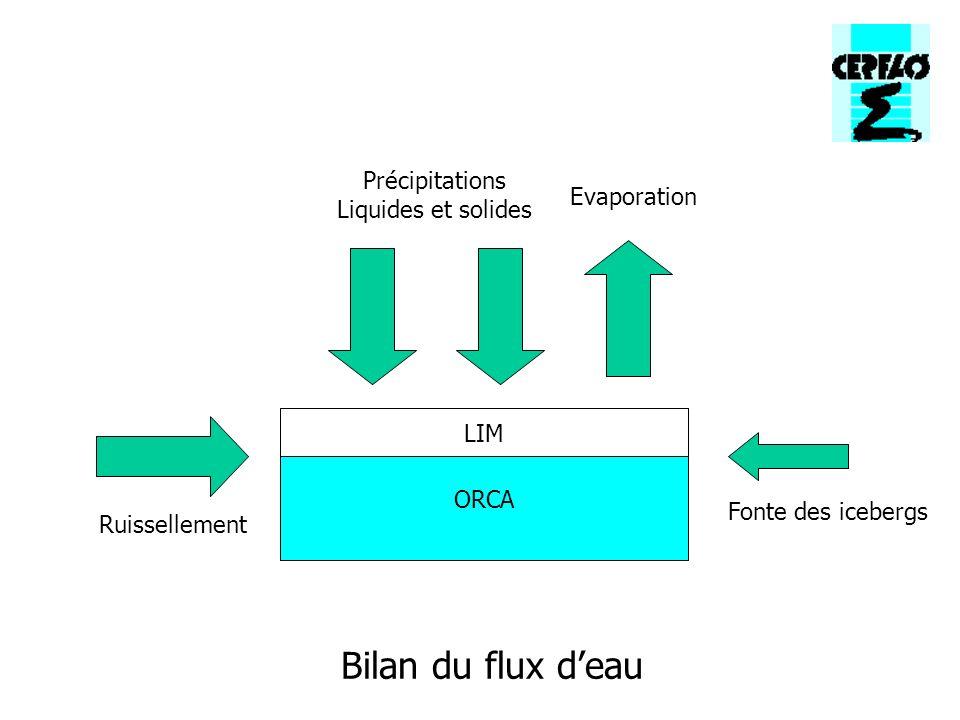 Bilan du flux deau ORCA LIM Ruissellement Fonte des icebergs Précipitations Liquides et solides Evaporation