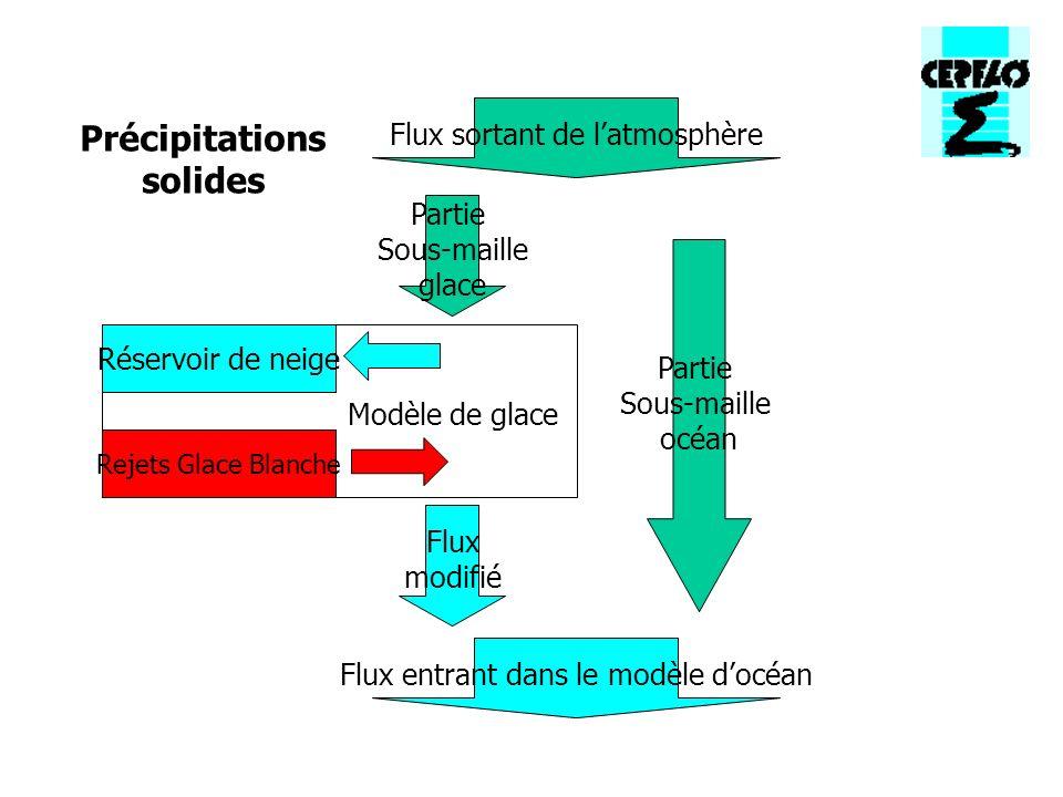 Modèle de glace Réservoir de neige Rejets Glace Blanche Partie Sous-maille glace Partie Sous-maille océan Flux sortant de latmosphère Flux entrant dans le modèle docéan Flux modifié Précipitations solides