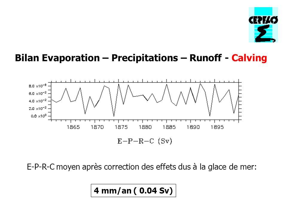 E-P-R-C moyen après correction des effets dus à la glace de mer: Bilan Evaporation – Precipitations – Runoff - Calving 4 mm/an ( 0.04 Sv)