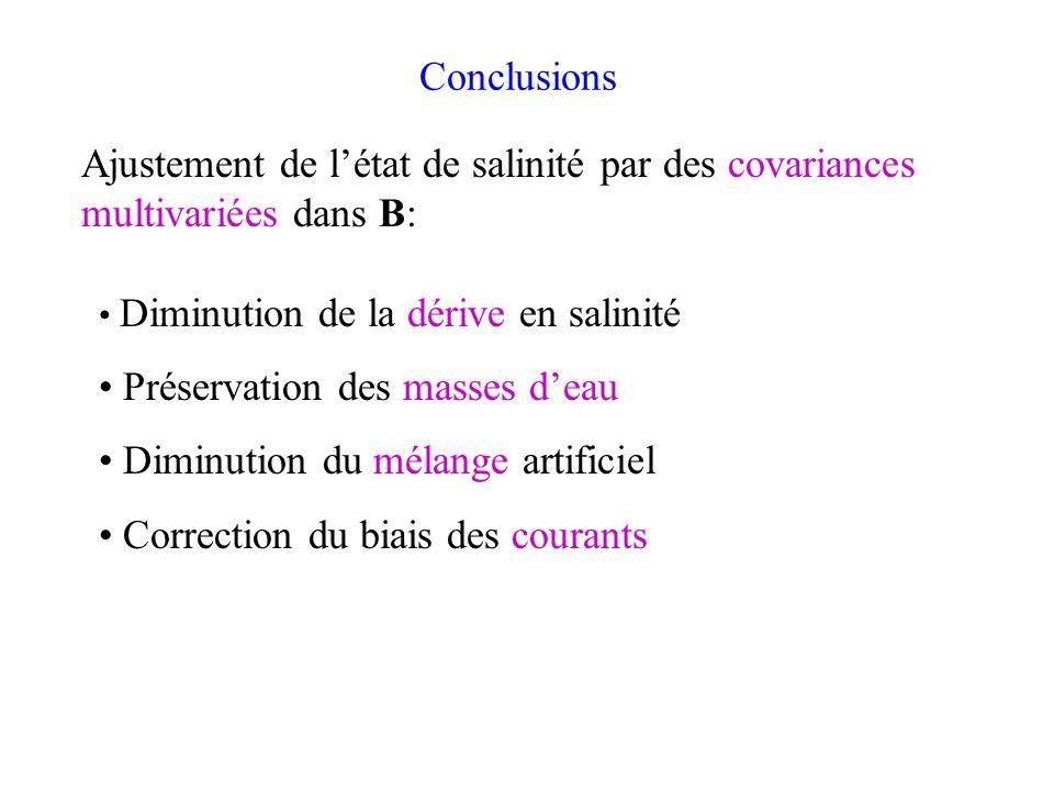 Conclusions Diminution de la dérive en salinité Préservation des masses deau Diminution du mélange artificiel Correction du biais des courants Ajustem