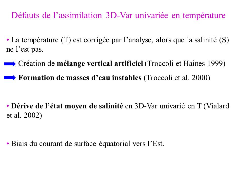 Défauts de lassimilation 3D-Var univariée en température La température (T) est corrigée par lanalyse, alors que la salinité (S) ne lest pas. Création