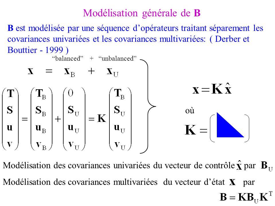 Modélisation générale de B Modélisation des covariances univariées du vecteur de contrôle par Modélisation des covariances multivariées du vecteur dét