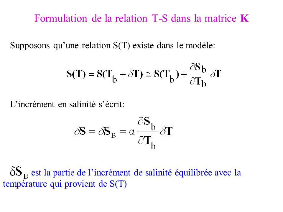 Formulation de la relation T-S dans la matrice K Supposons quune relation S(T) existe dans le modèle: Lincrément en salinité sécrit: est la partie de