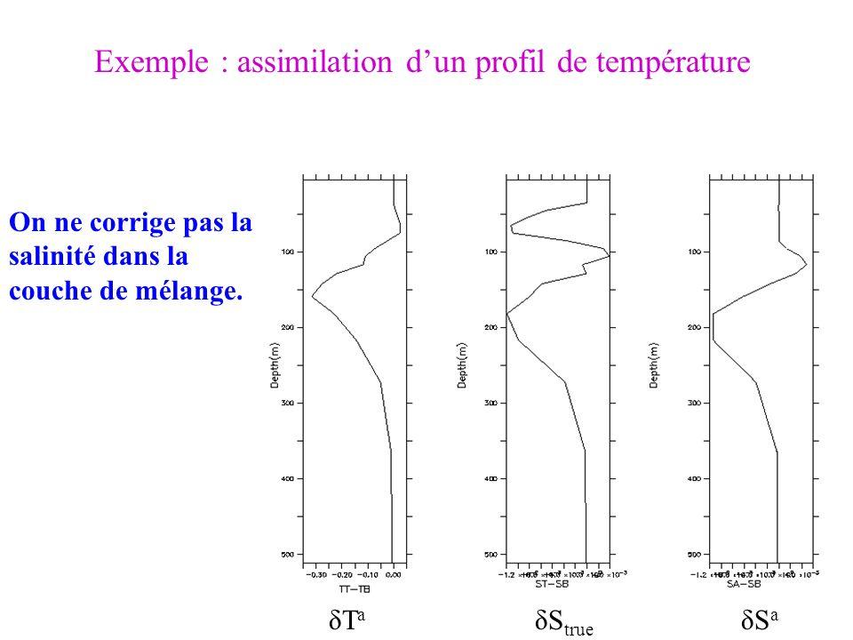 δTaδTa δS true δSaδSa Exemple : assimilation dun profil de température On ne corrige pas la salinité dans la couche de mélange.