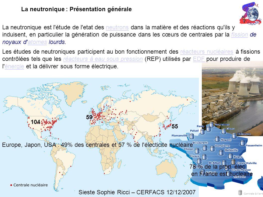 La neutronique est l étude de l etat des neutrons dans la matière et des réactions qu ils y induisent, en particulier la génération de puissance dans les cœurs de centrales par la fission de noyaux d atomes lourds.neutronsfissionatomes Les études de neutroniques participent au bon fonctionnement des réacteurs nucléaires à fissions contrôlées tels que les réacteurs à eau sous pression (REP) utilisés par EDF pour produire de l énergie et la délivrer sous forme électrique.réacteurs nucléairesréacteurs à eau sous pressionEDFénergie La neutronique : Présentation générale Sieste Sophie Ricci – CERFACS 12/12/2007 Europe, Japon, USA : 49% des centrales et 57 % de l électicite nucléaire 78 % de la prod.