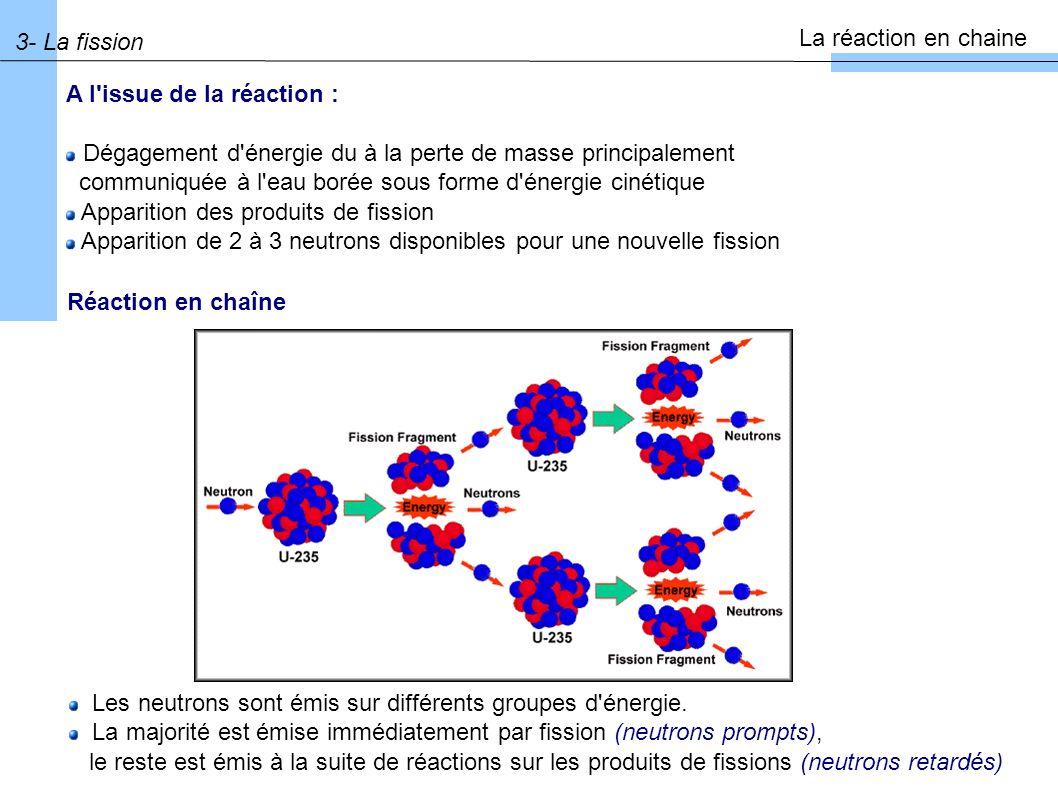 3- La fission La réaction en chaine A l issue de la réaction : Dégagement d énergie du à la perte de masse principalement communiquée à l eau borée sous forme d énergie cinétique Apparition des produits de fission Apparition de 2 à 3 neutrons disponibles pour une nouvelle fission Réaction en chaîne Les neutrons sont émis sur différents groupes d énergie.