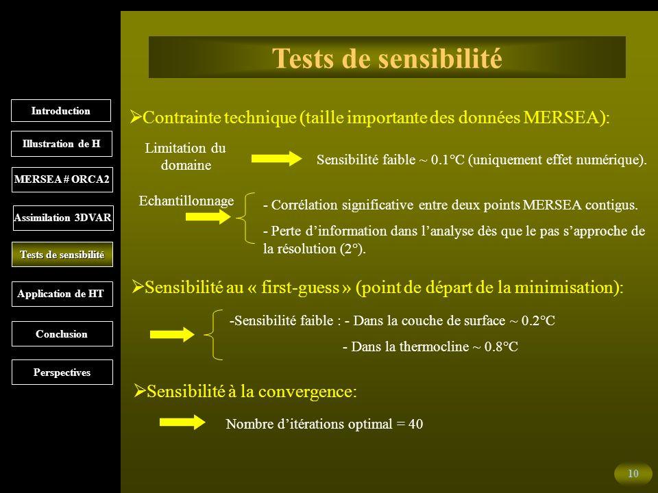 10 Tests de sensibilité Sensibilité à la convergence: Contrainte technique (taille importante des données MERSEA): Sensibilité au « first-guess » (point de départ de la minimisation): Nombre ditérations optimal = 40 - Corrélation significative entre deux points MERSEA contigus.