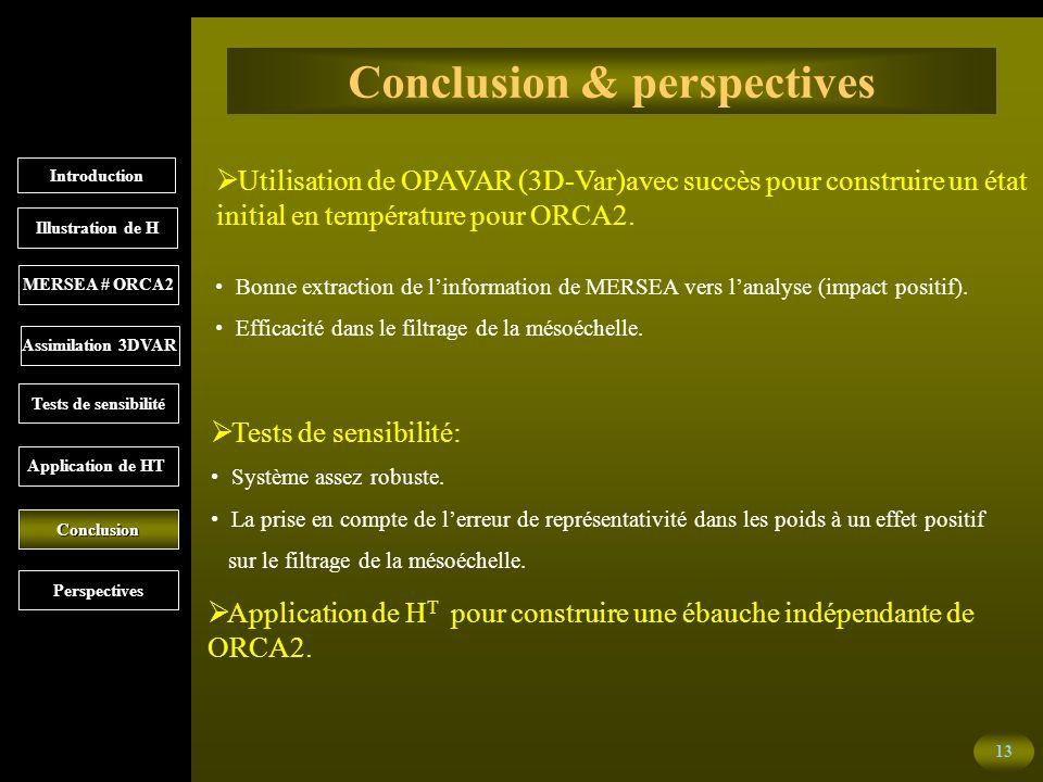 13 Conclusion & perspectives Utilisation de OPAVAR (3D-Var)avec succès pour construire un état initial en température pour ORCA2.