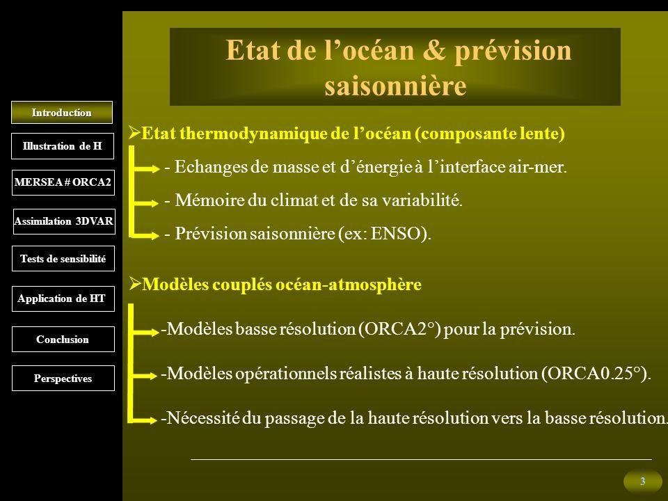 3 Introduction MERSEA # ORCA2 Illustration de H Etat de locéan & prévision saisonnière Etat thermodynamique de locéan (composante lente) - Echanges de masse et dénergie à linterface air-mer.