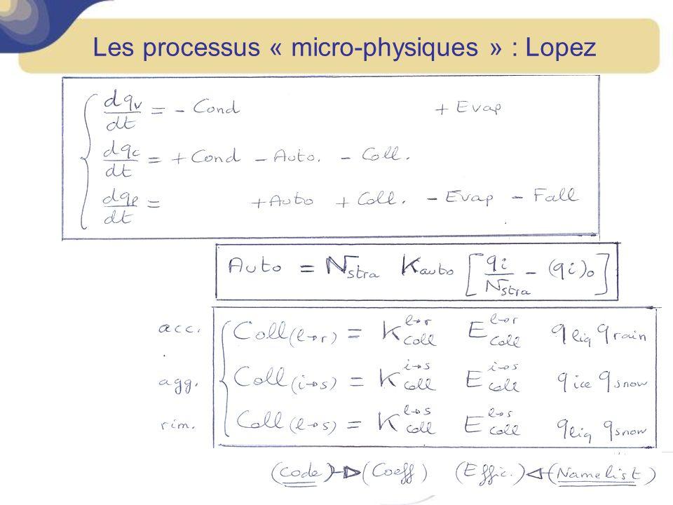 Les processus « micro-physiques » : Lopez