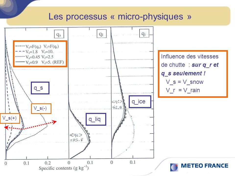 Les processus « micro-physiques » Influence des vitesses de chutte : sur q_r et q_s seulement ! V_s = V_snow V_r = V_rain q_s q_liq q_ice V_s(-)V_s(+)