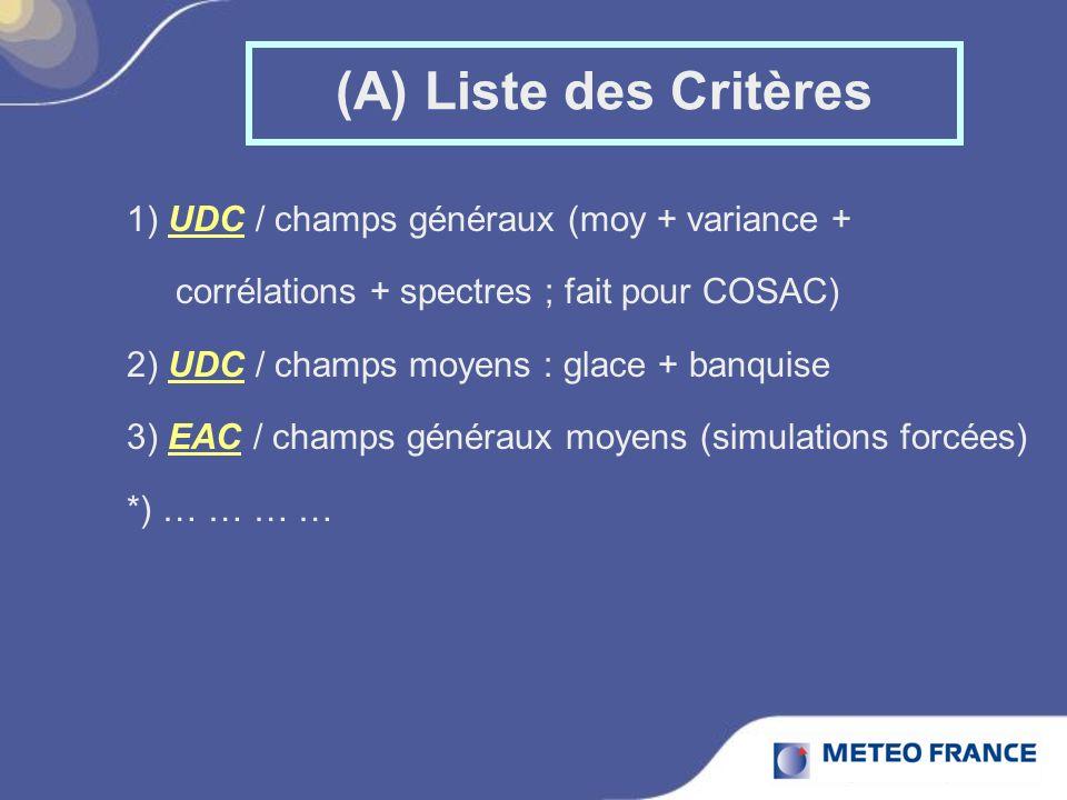 (A) Liste des Critères 1) UDC / champs généraux (moy + variance + corrélations + spectres ; fait pour COSAC) 2) UDC / champs moyens : glace + banquise 3) EAC / champs généraux moyens (simulations forcées) *) … … … …