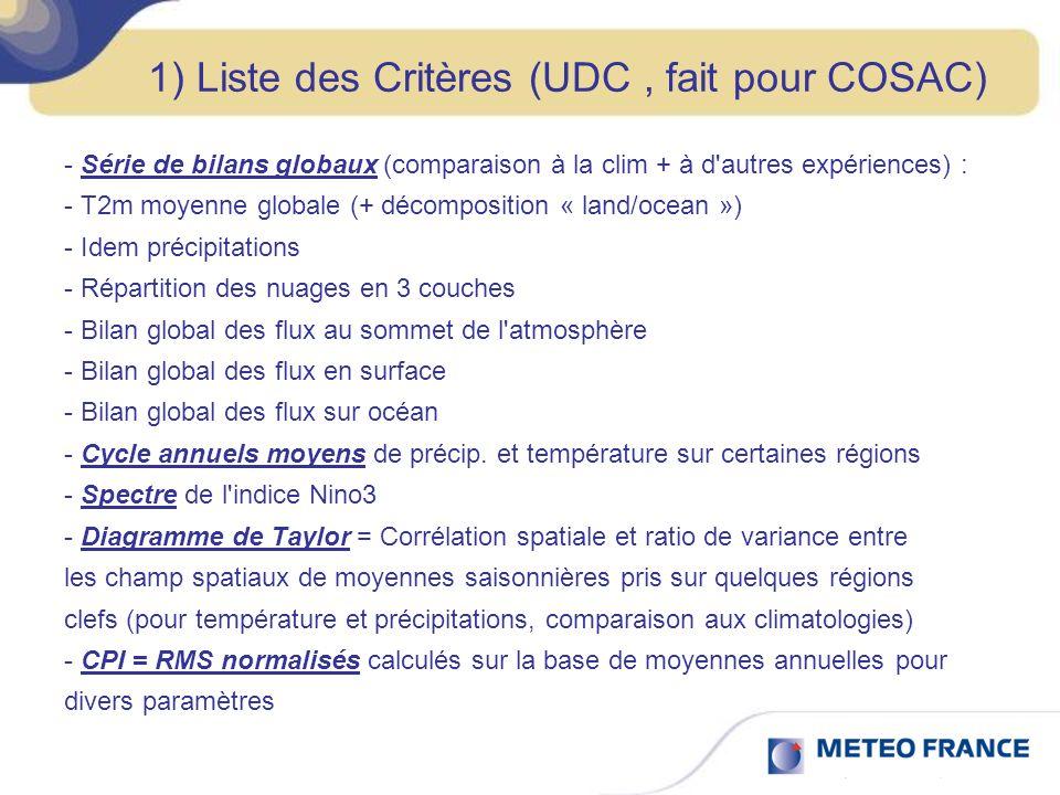 1) Liste des Critères (UDC, fait pour COSAC) - Série de bilans globaux (comparaison à la clim + à d autres expériences) : - T2m moyenne globale (+ décomposition « land/ocean ») - Idem précipitations - Répartition des nuages en 3 couches - Bilan global des flux au sommet de l atmosphère - Bilan global des flux en surface - Bilan global des flux sur océan - Cycle annuels moyens de précip.