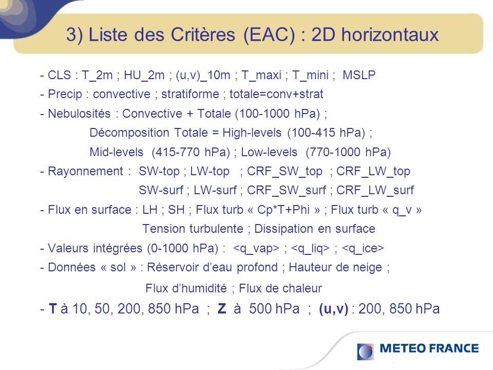 3) Liste des Critères (EAC) : 2D horizontaux - CLS : T_2m ; HU_2m ; (u,v)_10m ; T_maxi ; T_mini ; MSLP - Precip : convective ; stratiforme ; totale=conv+strat - Nebulosités : Convective + Totale (100-1000 hPa) ; Décomposition Totale = High-levels (100-415 hPa) ; Mid-levels (415-770 hPa) ; Low-levels (770-1000 hPa) - Rayonnement : SW-top ; LW-top ; CRF_SW_top ; CRF_LW_top SW-surf ; LW-surf ; CRF_SW_surf ; CRF_LW_surf - Flux en surface : LH ; SH ; Flux turb « Cp*T+Phi » ; Flux turb « q_v » Tension turbulente ; Dissipation en surface - Valeurs intégrées (0-1000 hPa) : ; ; - Données « sol » : Réservoir deau profond ; Hauteur de neige ; Flux dhumidité ; Flux de chaleur - T à 10, 50, 200, 850 hPa ; Z à 500 hPa ; (u,v) : 200, 850 hPa