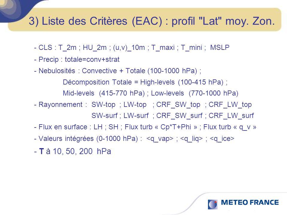 3) Liste des Critères (EAC) / On regarde : Pour les données globales, intégrées, en moyennes annuelles : - Bilan nul pour Precip-Evap : vers 2.9 à 3.2 mm/jour .
