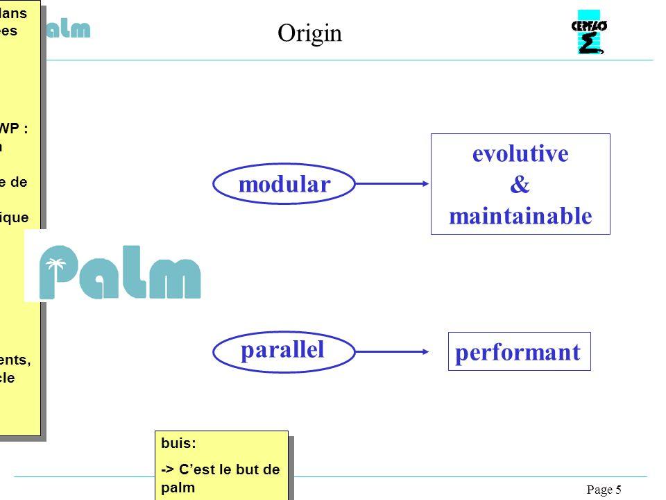 Page 5 Origin buis: -> Cest le but de palm buis: -> Cest le but de palm buis: projet créé dans le milieu des annees 90 à partir dun constat ou pour répondre a un problème précis -> exemple : en NWP : modele de plus en plus complexe prenant en compte de plus en plus de composants physique mais aussi des composants mathematique : assimilation de donnees, desfois aussi avec des resolution ou des dommaines differents, le tout gere avec cle CPP, … buis: projet créé dans le milieu des annees 90 à partir dun constat ou pour répondre a un problème précis -> exemple : en NWP : modele de plus en plus complexe prenant en compte de plus en plus de composants physique mais aussi des composants mathematique : assimilation de donnees, desfois aussi avec des resolution ou des dommaines differents, le tout gere avec cle CPP, … modular parallel performantevolutive & maintainable