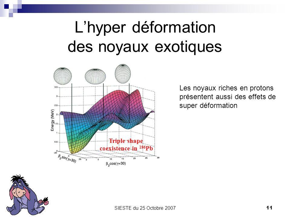 SIESTE du 25 Octobre 200711 Lhyper déformation des noyaux exotiques Triple shape coexistence in 186 Pb Les noyaux riches en protons présentent aussi d