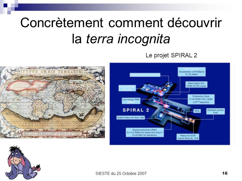 SIESTE du 25 Octobre 200716 Concrètement comment découvrir la terra incognita Le projet SPIRAL 2