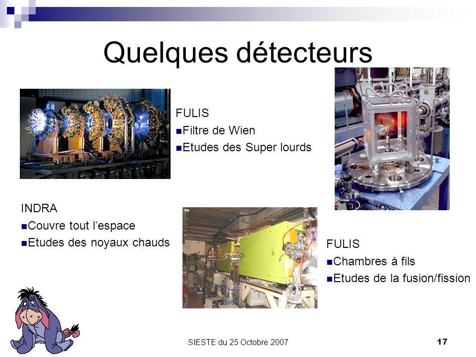 SIESTE du 25 Octobre 200717 Quelques détecteurs INDRA Couvre tout lespace Etudes des noyaux chauds FULIS Filtre de Wien Etudes des Super lourds FULIS