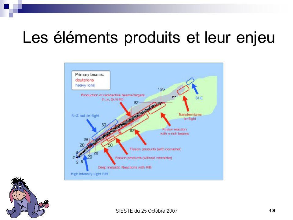 SIESTE du 25 Octobre 200718 Les éléments produits et leur enjeu