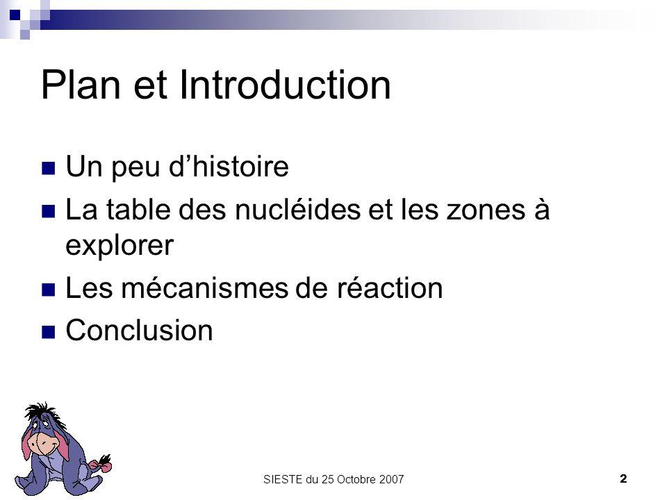 SIESTE du 25 Octobre 20072 Plan et Introduction Un peu dhistoire La table des nucléides et les zones à explorer Les mécanismes de réaction Conclusion