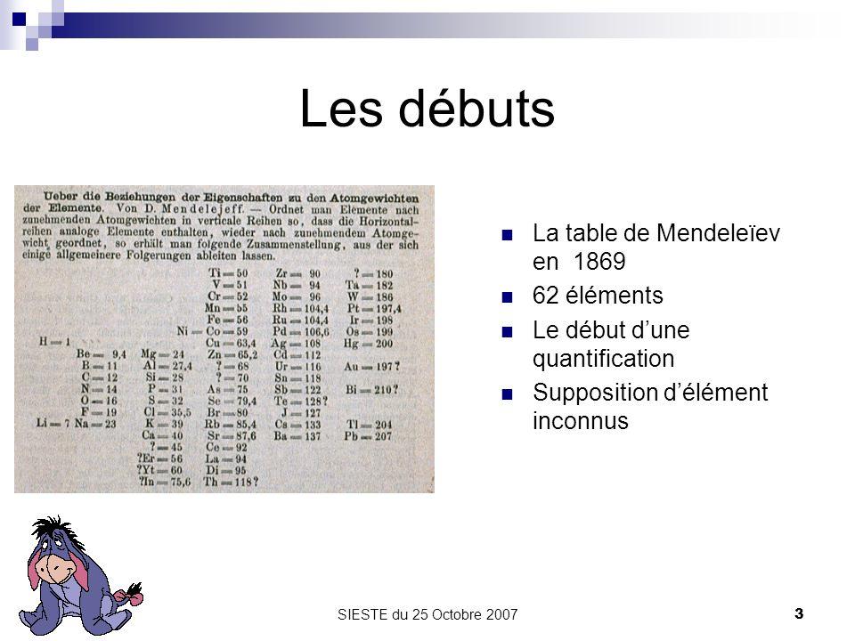 SIESTE du 25 Octobre 20073 Les débuts La table de Mendeleïev en 1869 62 éléments Le début dune quantification Supposition délément inconnus
