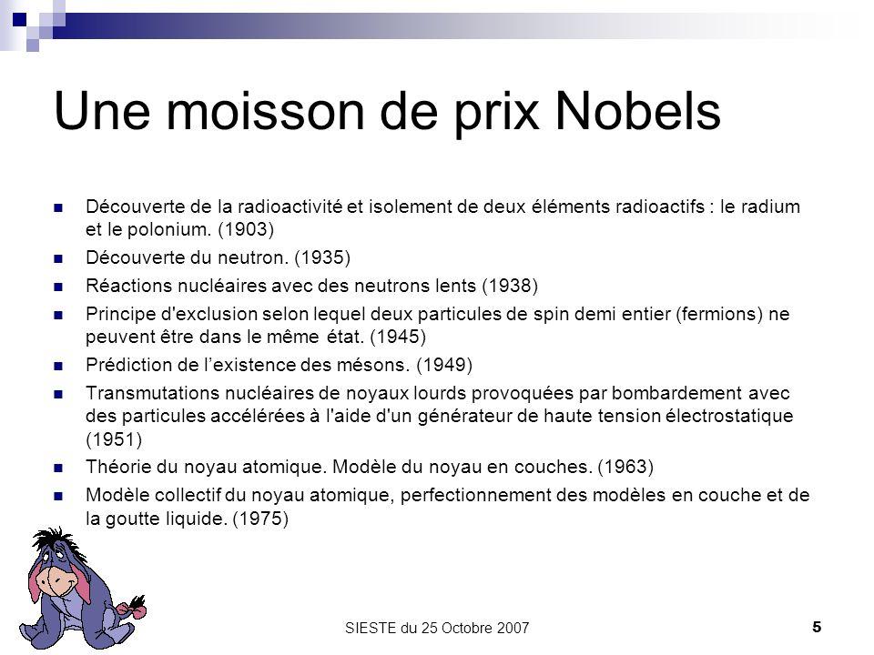 SIESTE du 25 Octobre 20075 Une moisson de prix Nobels Découverte de la radioactivité et isolement de deux éléments radioactifs : le radium et le polon