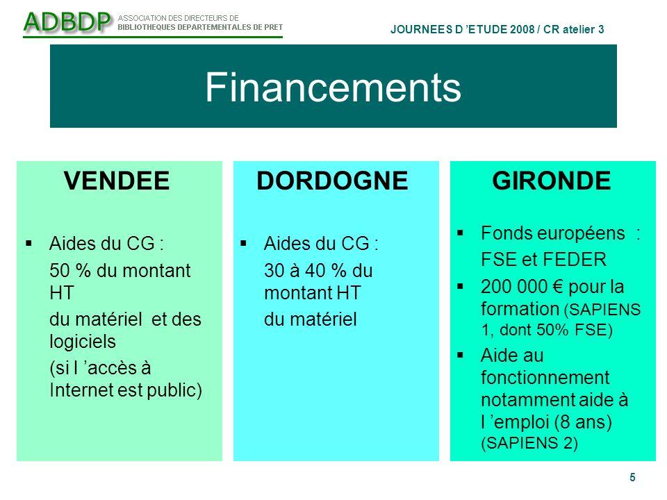 JOURNEES D ETUDE 2008 / CR atelier 3 5 Financements GIRONDE Fonds européens : FSE et FEDER 200 000 pour la formation (SAPIENS 1, dont 50% FSE) Aide au fonctionnement notamment aide à l emploi (8 ans) (SAPIENS 2) VENDEE Aides du CG : 50 % du montant HT du matériel et des logiciels (si l accès à Internet est public) DORDOGNE Aides du CG : 30 à 40 % du montant HT du matériel