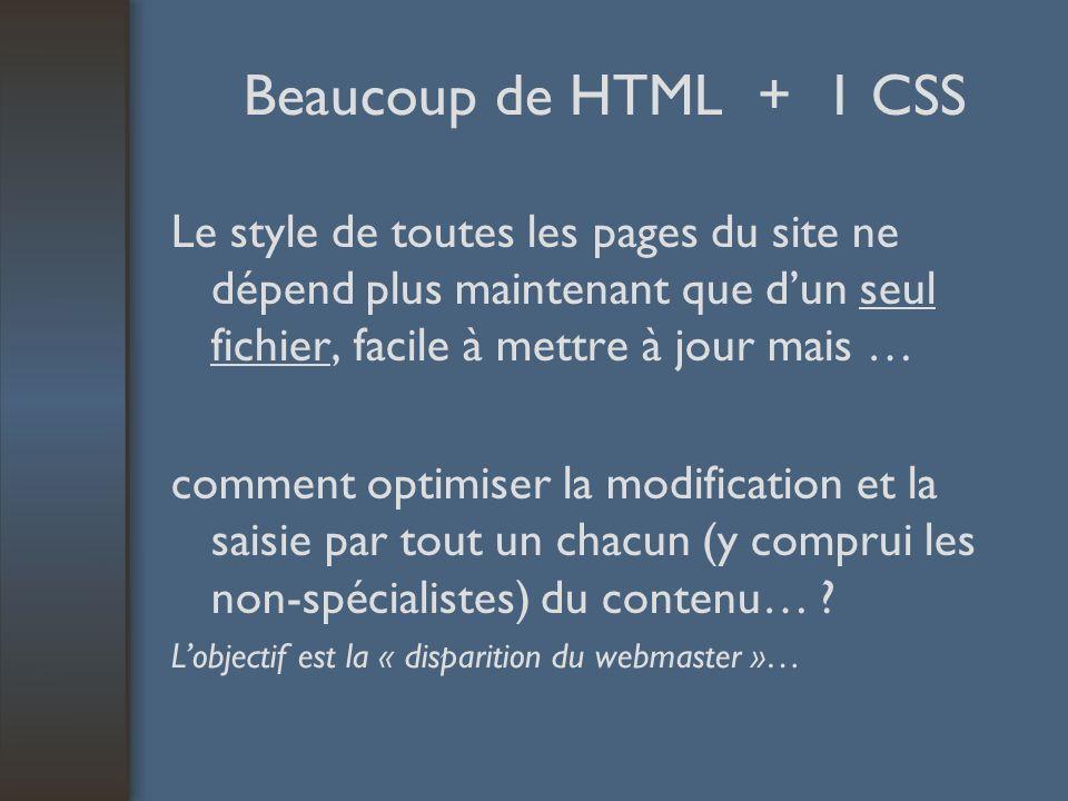 Beaucoup de HTML + 1 CSS Le style de toutes les pages du site ne dépend plus maintenant que dun seul fichier, facile à mettre à jour mais … comment optimiser la modification et la saisie par tout un chacun (y comprui les non-spécialistes) du contenu… .