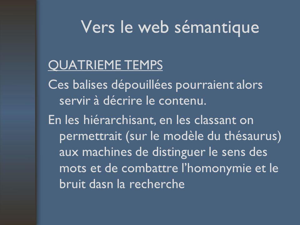 Vers le web sémantique QUATRIEME TEMPS Ces balises dépouillées pourraient alors servir à décrire le contenu.