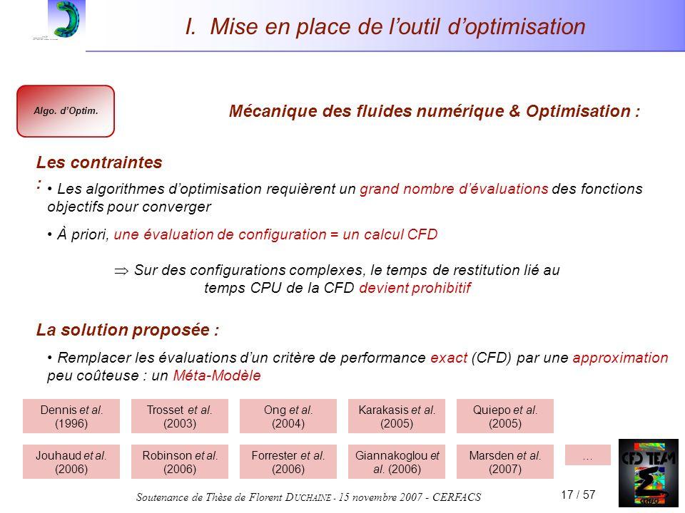 Soutenance de Thèse de Florent D UCHAINE - 15 novembre 2007 - CERFACS 17 / 57 I. Mise en place de loutil doptimisation Remplacer les évaluations dun c