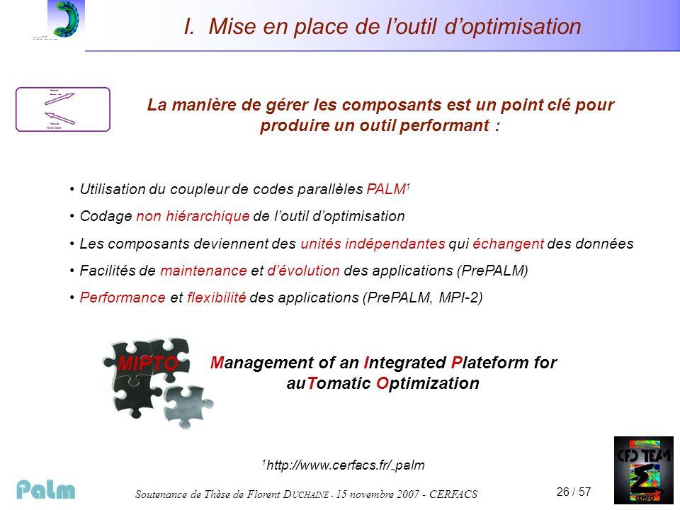 Soutenance de Thèse de Florent D UCHAINE - 15 novembre 2007 - CERFACS 26 / 57 I. Mise en place de loutil doptimisation La manière de gérer les composa