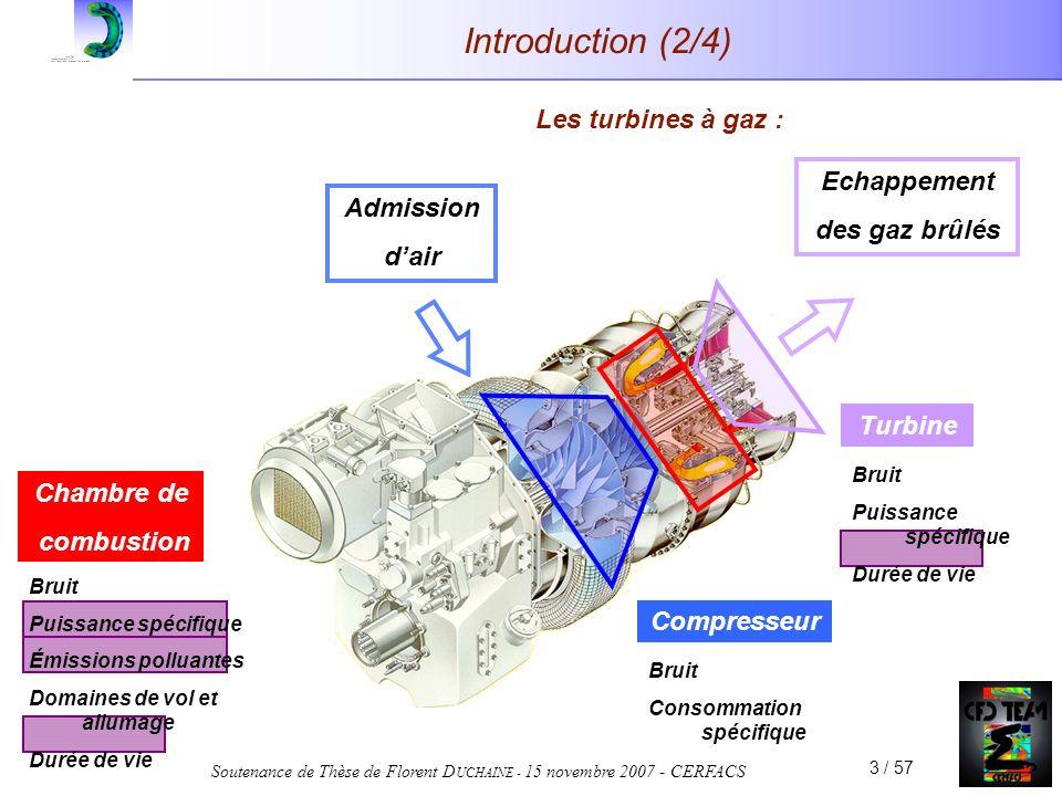 Soutenance de Thèse de Florent D UCHAINE - 15 novembre 2007 - CERFACS 3 / 57 Chambre de combustion Bruit Puissance spécifique Émissions polluantes Dom