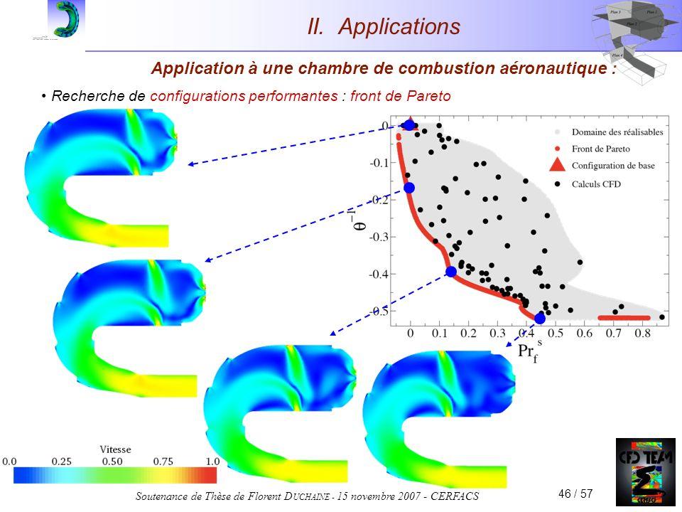 Soutenance de Thèse de Florent D UCHAINE - 15 novembre 2007 - CERFACS 46 / 57 Application à une chambre de combustion aéronautique : Recherche de conf