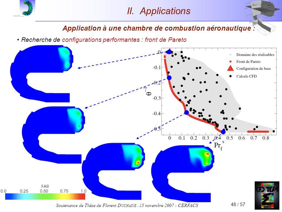 Soutenance de Thèse de Florent D UCHAINE - 15 novembre 2007 - CERFACS 48 / 57 Application à une chambre de combustion aéronautique : Recherche de configurations performantes : front de Pareto II.