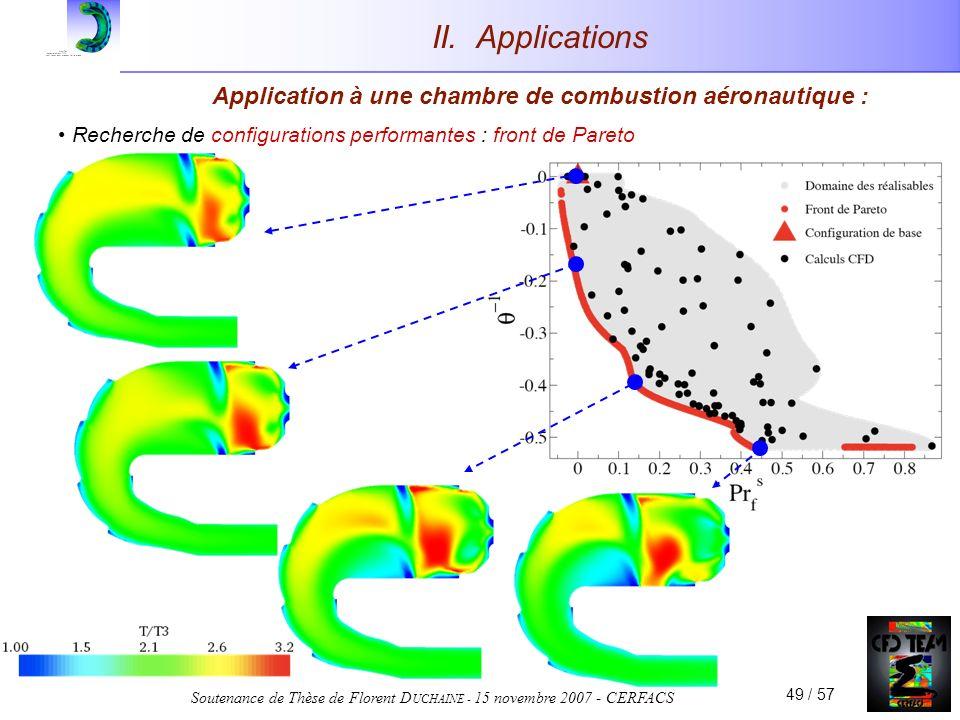 Soutenance de Thèse de Florent D UCHAINE - 15 novembre 2007 - CERFACS 49 / 57 Application à une chambre de combustion aéronautique : Recherche de configurations performantes : front de Pareto II.
