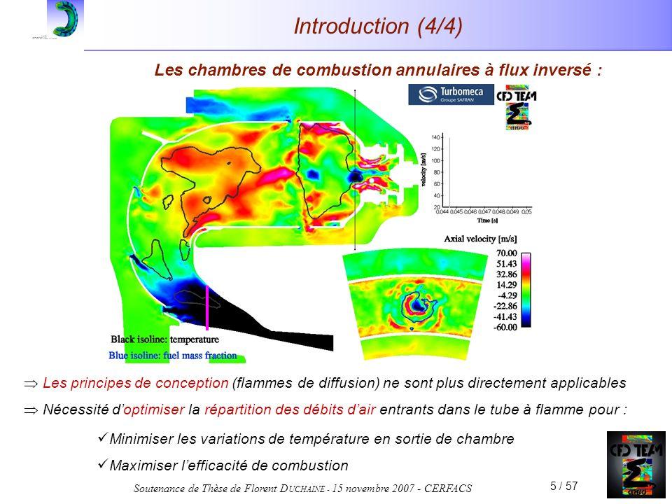 Soutenance de Thèse de Florent D UCHAINE - 15 novembre 2007 - CERFACS 5 / 57 Introduction (4/4) Les chambres de combustion annulaires à flux inversé :