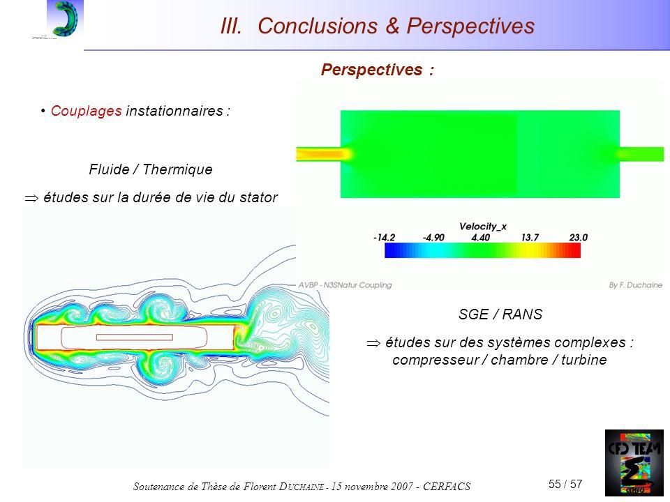 Soutenance de Thèse de Florent D UCHAINE - 15 novembre 2007 - CERFACS 55 / 57 III. Conclusions & Perspectives Perspectives : Couplages instationnaires