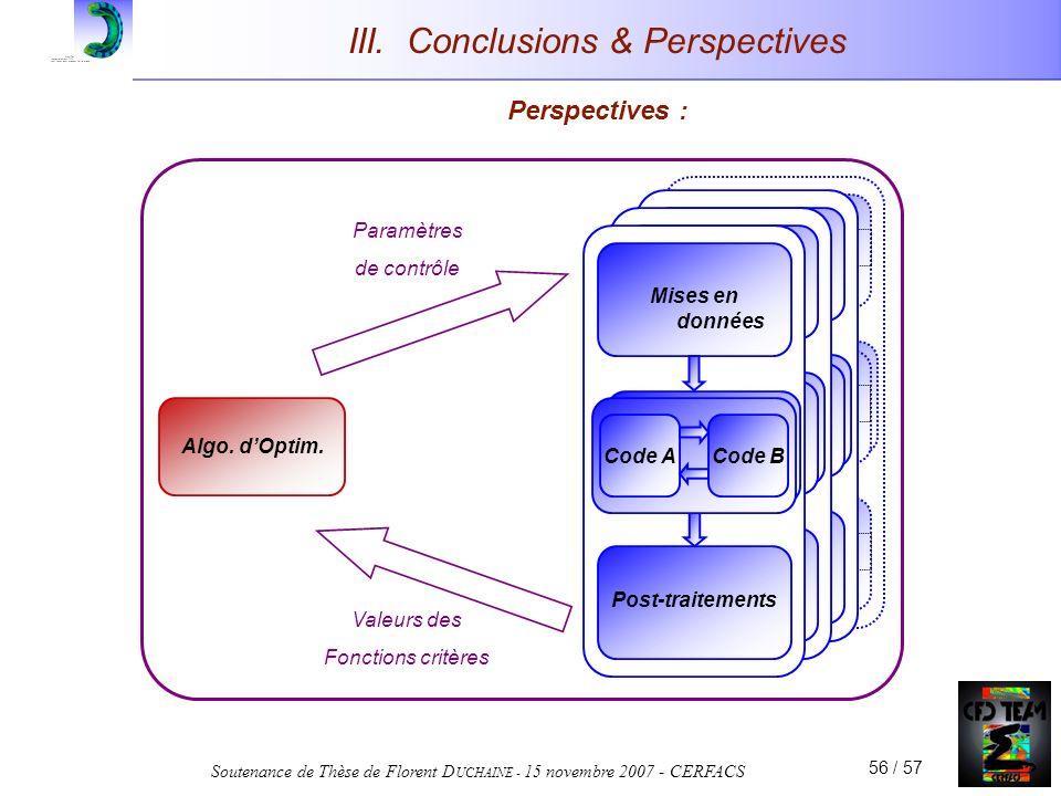 Soutenance de Thèse de Florent D UCHAINE - 15 novembre 2007 - CERFACS 56 / 57 III. Conclusions & Perspectives Perspectives : Mise en données Code CFD