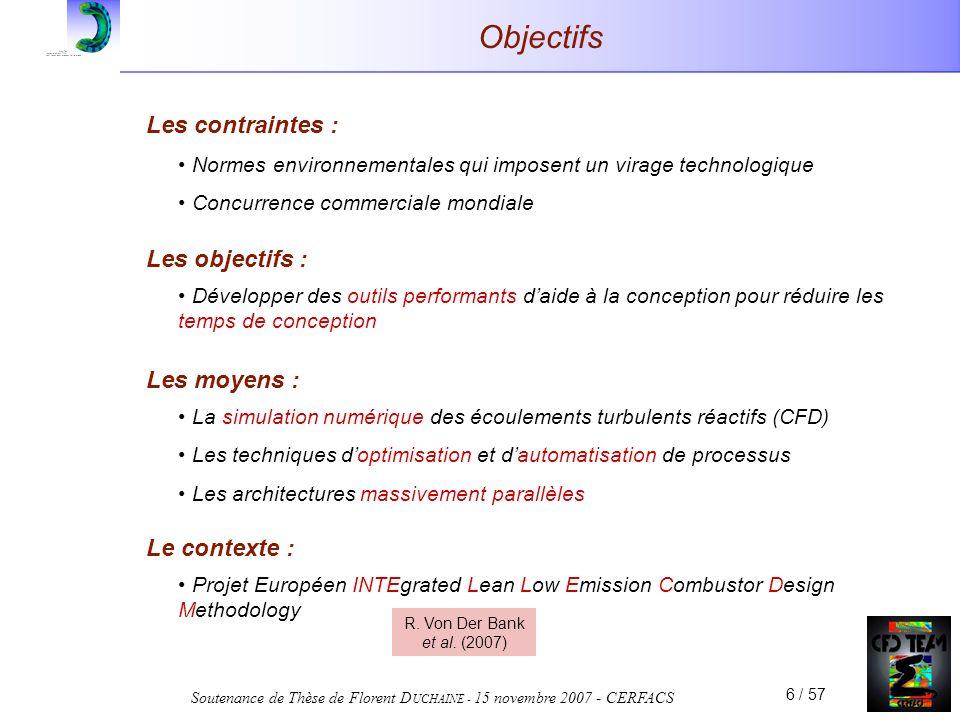 Soutenance de Thèse de Florent D UCHAINE - 15 novembre 2007 - CERFACS 6 / 57 Objectifs Les contraintes : Normes environnementales qui imposent un vira