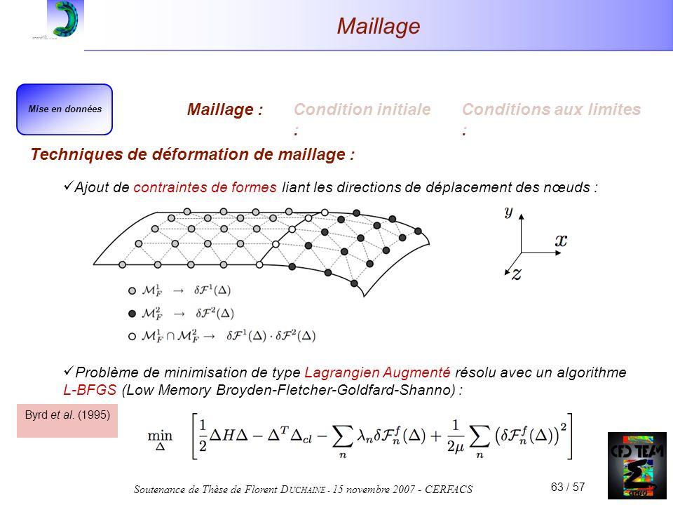 Soutenance de Thèse de Florent D UCHAINE - 15 novembre 2007 - CERFACS 63 / 57 Maillage Techniques de déformation de maillage : Ajout de contraintes de formes liant les directions de déplacement des nœuds : Mise en données Maillage :Condition initiale : Conditions aux limites : Problème de minimisation de type Lagrangien Augmenté résolu avec un algorithme L-BFGS (Low Memory Broyden-Fletcher-Goldfard-Shanno) : Byrd et al.