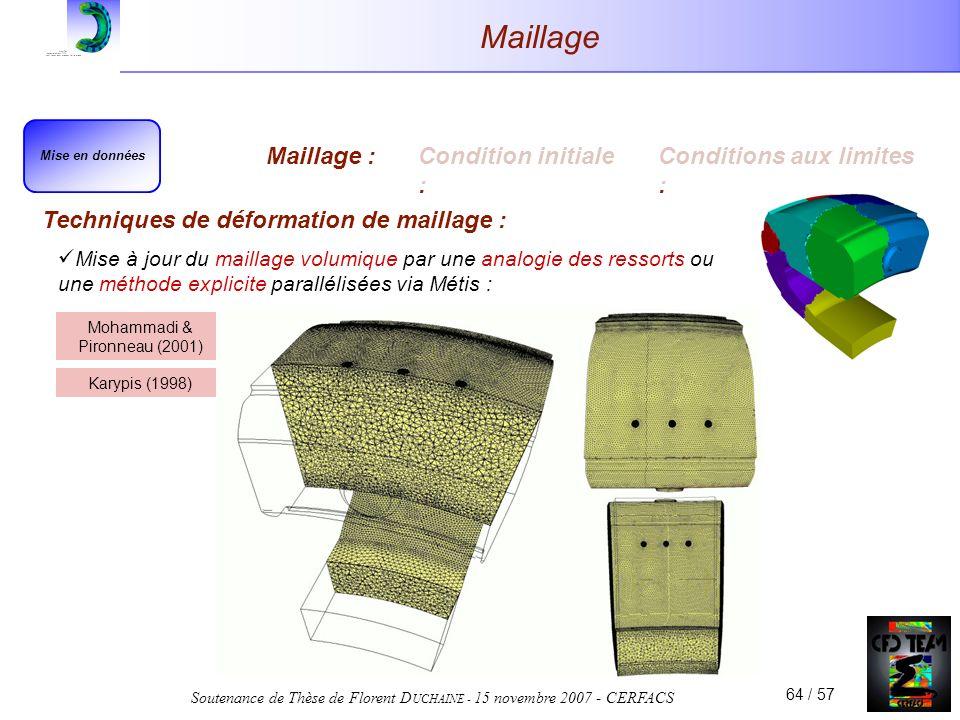 Soutenance de Thèse de Florent D UCHAINE - 15 novembre 2007 - CERFACS 64 / 57 Maillage Techniques de déformation de maillage : Mise en données Maillage :Condition initiale : Conditions aux limites : Mise à jour du maillage volumique par une analogie des ressorts ou une méthode explicite parallélisées via Métis : Mohammadi & Pironneau (2001) Karypis (1998)