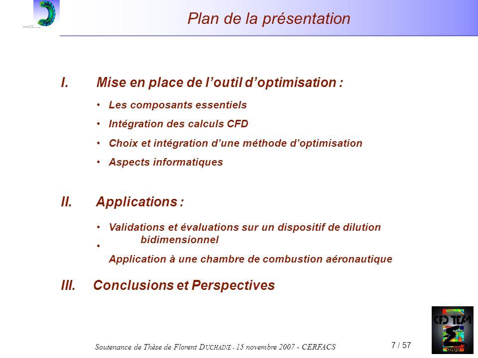 Soutenance de Thèse de Florent D UCHAINE - 15 novembre 2007 - CERFACS 7 / 57 Plan de la présentation I. Mise en place de loutil doptimisation : II. Ap