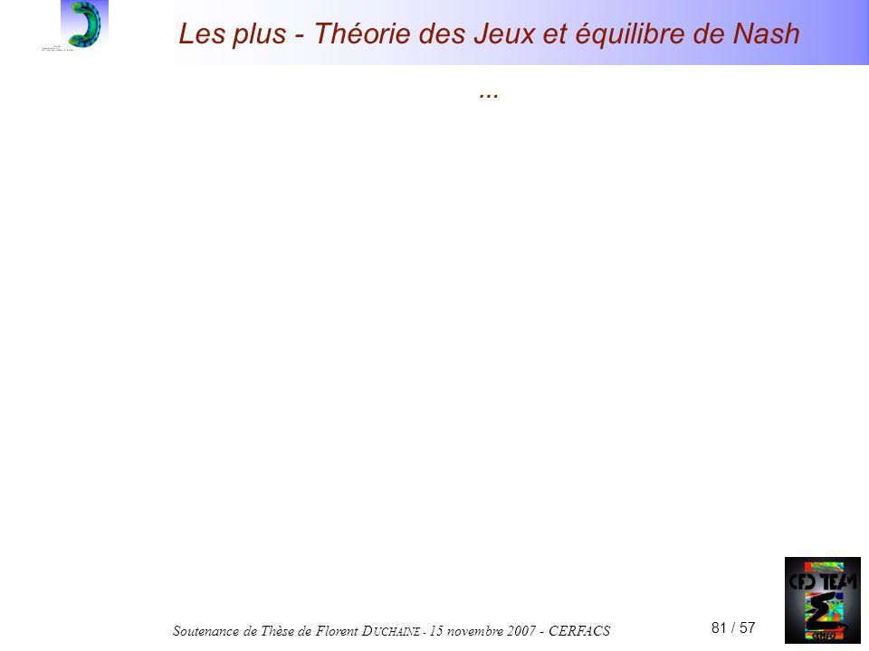 Soutenance de Thèse de Florent D UCHAINE - 15 novembre 2007 - CERFACS 81 / 57 Les plus - Théorie des Jeux et équilibre de Nash …