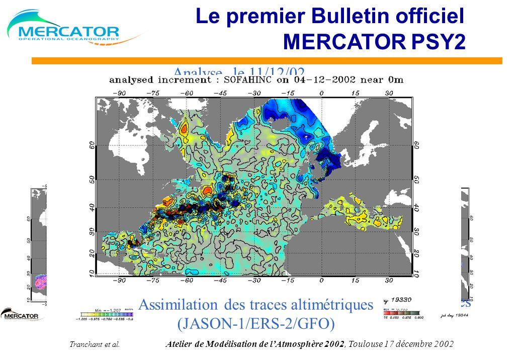 Tranchant et al. Atelier de Modélisation de lAtmosphère 2002, Toulouse 17 décembre 2002 Prévision à 7 jours 18/12/02 Le premier Bulletin officiel MERC
