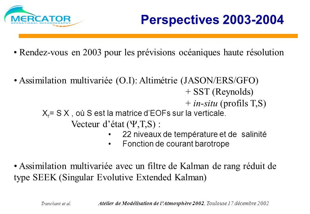 Tranchant et al. Atelier de Modélisation de lAtmosphère 2002, Toulouse 17 décembre 2002 Perspectives 2003-2004 Assimilation multivariée (O.I): Altimét