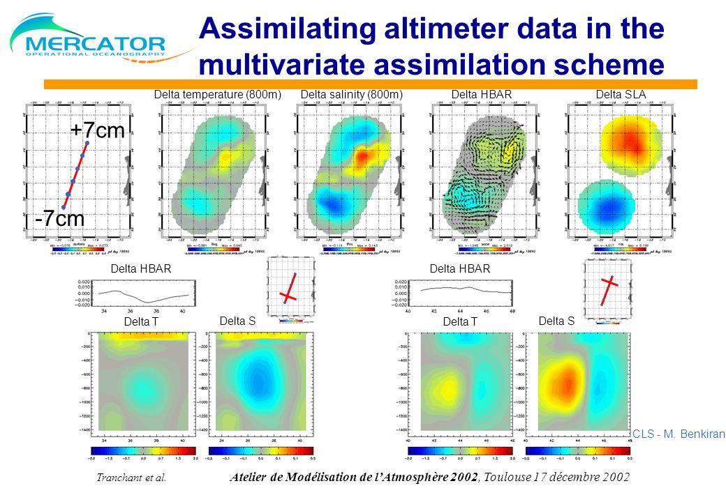 Tranchant et al. Atelier de Modélisation de lAtmosphère 2002, Toulouse 17 décembre 2002 Assimilating altimeter data in the multivariate assimilation s